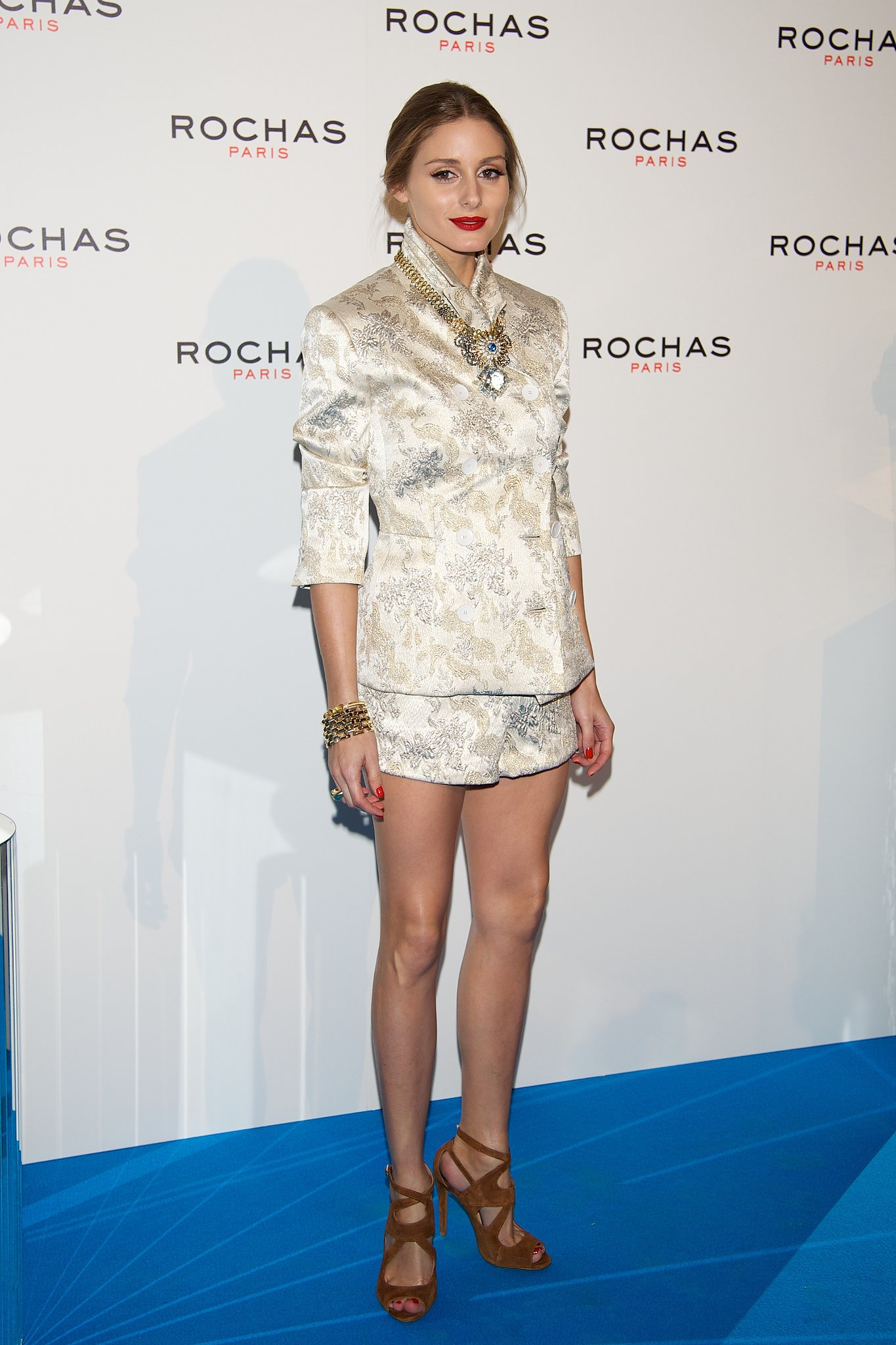 Olivia Palermo wore Rochas at a Rochas event in Madrid.