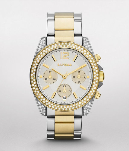 Pave Embellished Chronograph Bracelet Watch