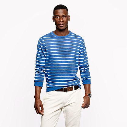 Slub cotton crewneck sweater in cerulean stripe