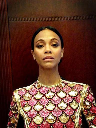 Zoe Saldana showed off her gorgeous Balmain minidress before hitting the red carpet for the Berlin premiere of Star Trek Into Darkness. Source: Twitter user MakeupByVera