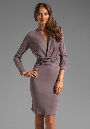 Halston Heritage Long Sleeve V Neck Draped Front Jersey Dress