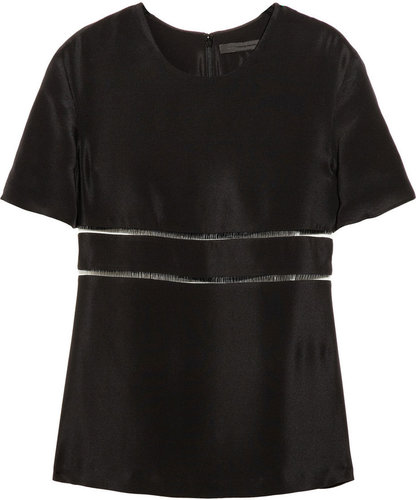 Alexander Wang Cutout silk-crepe and fishline top