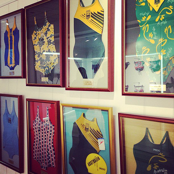 Olympic swimsuits, past and present, made for a colourful feature wall at the Speedo headquarters.