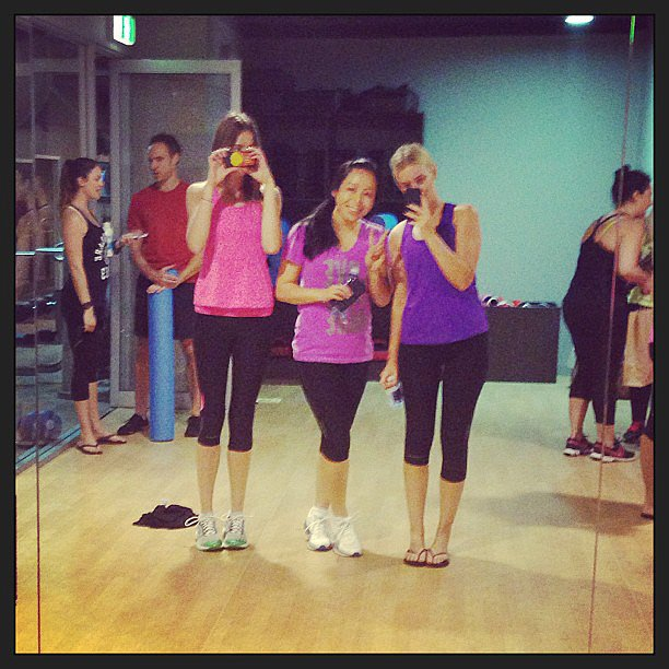 Gym mirrors = perfect selfie opportunity. Alison, on the right, was all prepped for her reformer class at Elixr.