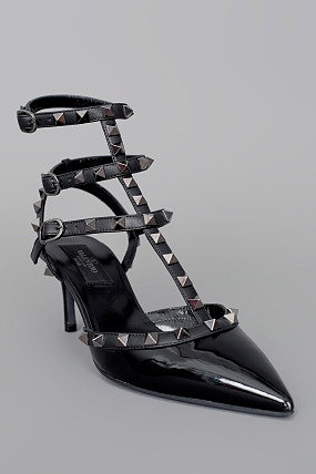 Valentino Rock Star Studded Caged Slingback Heel Black