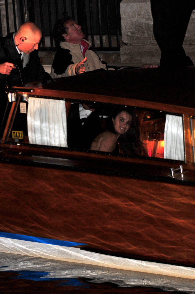 Penelope Cruz was spotted leaving Salma Hayek and Francois-Henri Pinault's Venetian wedding in a water taxi in April 2009.