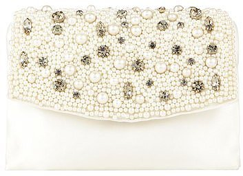 Pearlized Crystal Satin Clutch