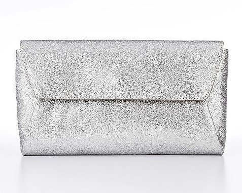 """This Ann Taylor silver glitter clutch ($85) has party written all over it. And it's a good size to fit all your """"I Do"""" essentials."""