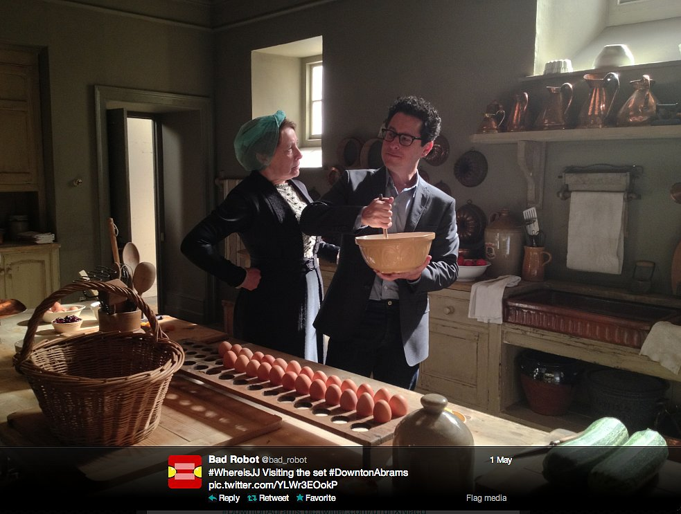 Star Trek Into Darkness director J.J. Abrams gets a stern cooking lesson from Mrs. Hughes.