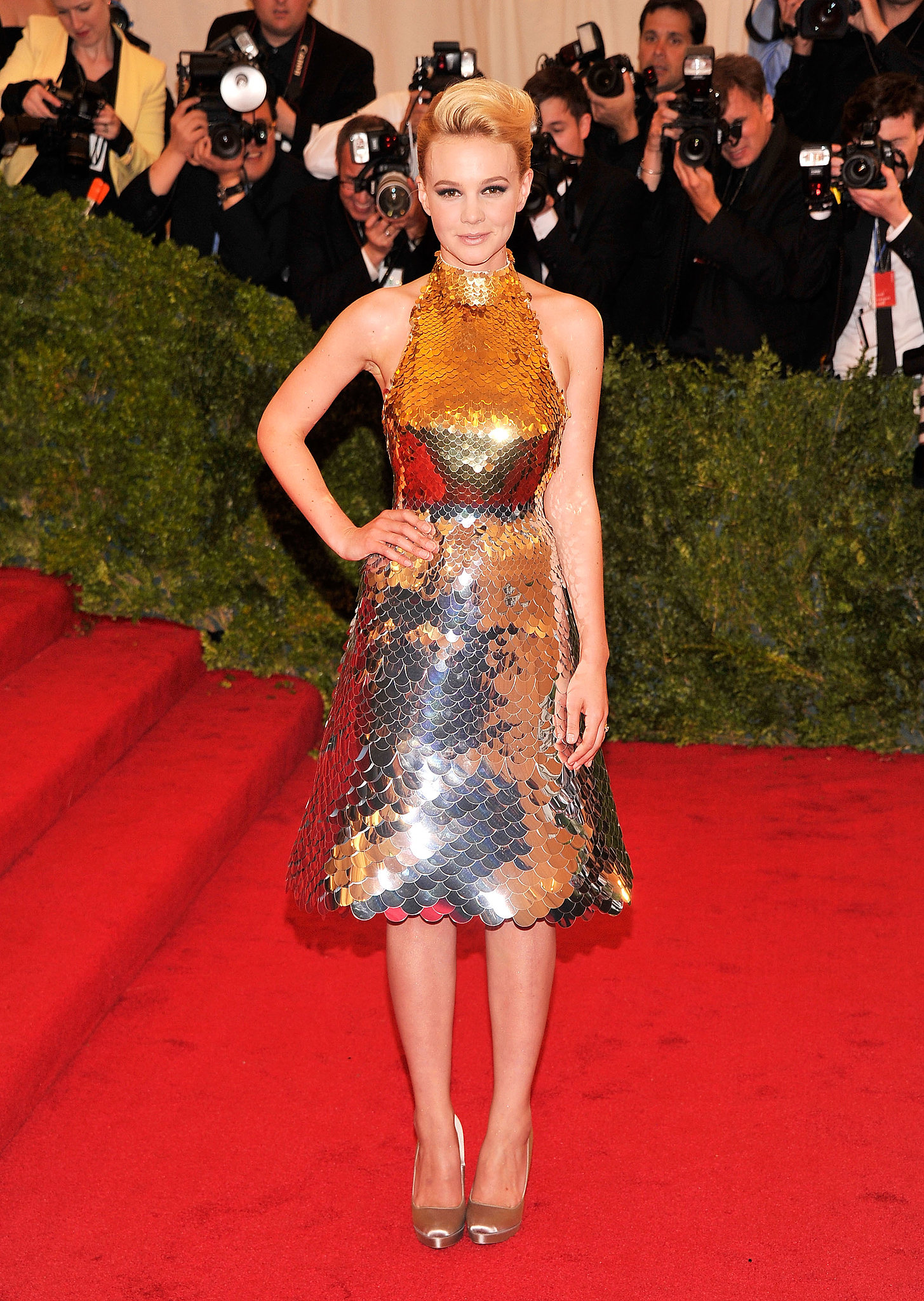 Carey Mulligan in Metallic Prada at the 2012 Met Gala