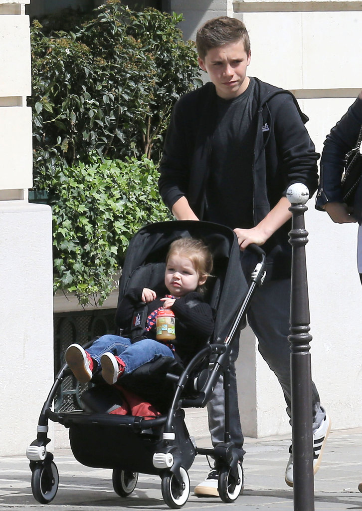 Brooklyn Beckham took his sister Harper for a stroll on Saturday morning in Paris.