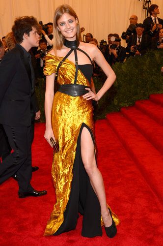 Constance Jablonski was undeniably sexy in a hand-sculpted metal Wes Gordon gown with a thigh-high slit and an Amanda Pearl clutch.
