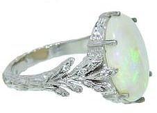 Cathy Waterman Oval Opal Leafside Ring in Platinum