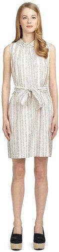 Silk Stripe Belted Dress