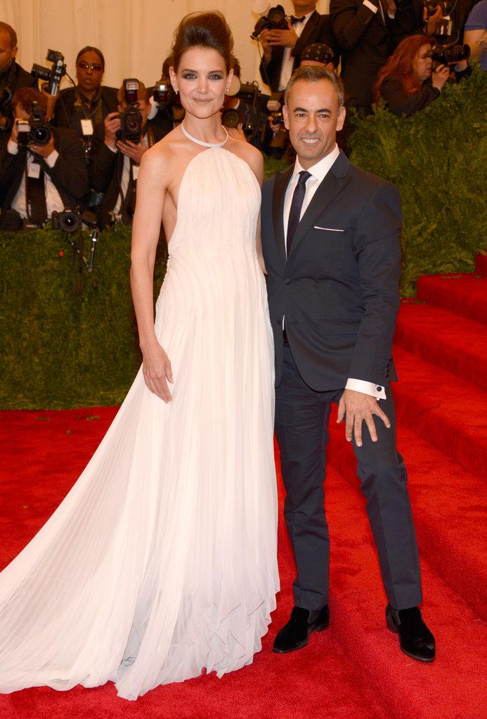 Katie Holmes had Calvin Klein creative director Francisco Costa by her side.