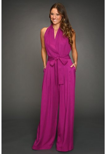 Robert Rodriguez - Pleated Halter Jumpsuit (Fuchsia) - Apparel