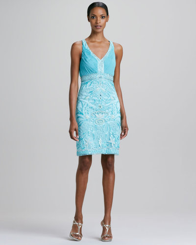 Sue Wong Halter Beaded Cocktail Dress