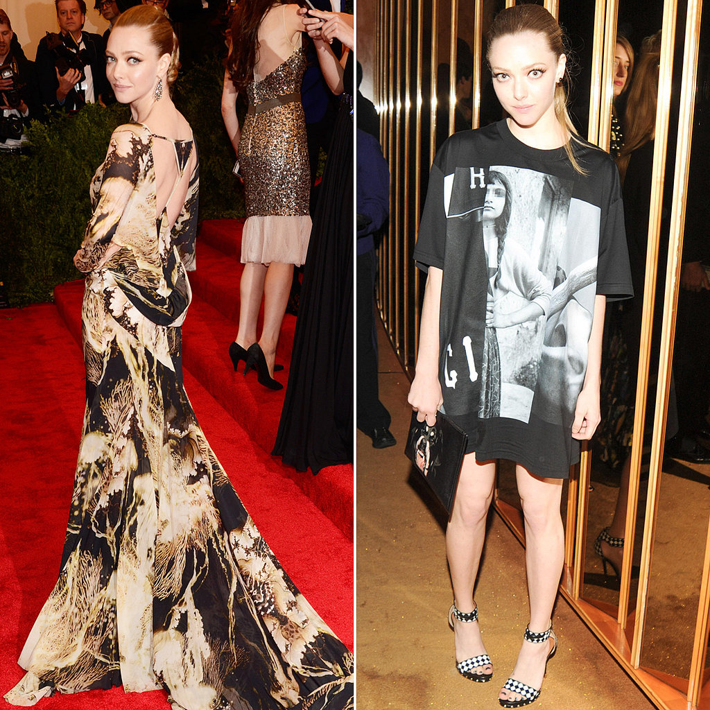 Amanda Seyfried was Givenchy loyal on Met Gala night. On the red carpet, she wore a printed chiffon gown from the label's Couture Spring '07 collection, and at the afterparty, she slipped into an oversize printed t-shirt (made into a minidress) and rocked black-and-white sandals and a Givenchy Rottweiler clutch.