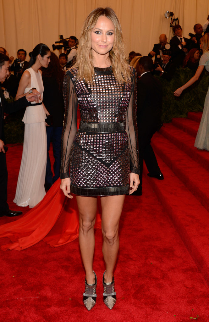 Stacy Keibler flaunted her stems in a tough-girl studded Rachel Roy minidress with sheer sleeves.