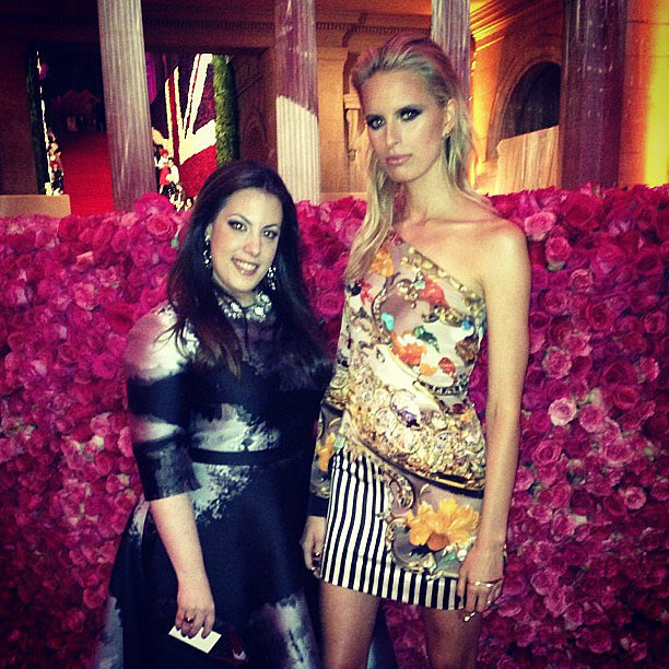 Mary Katrantzou posed with her model date, Karolina Kurkova. Source: Instagram user marykatrantzou