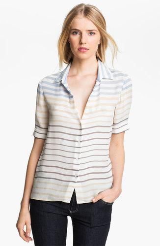 L'AGENCE Stripe Silk Blouse