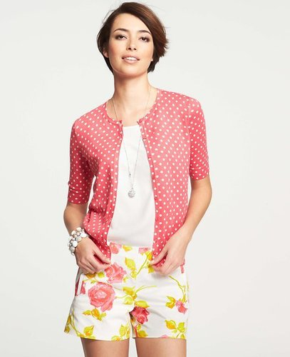 Summer Dot Print Crew Neck Short Sleeve Cardigan