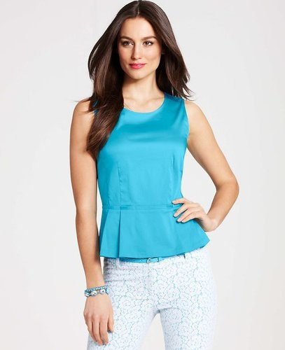 Petite Cotton Sateen Peplum Shell