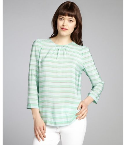 Tegan mint and taupe striped silk three quarter sleeve blouse