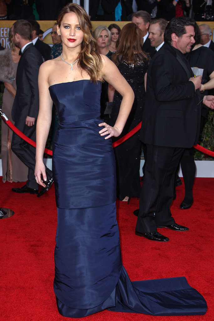 Navy is the way to inject major sophistication to your wedding. Just look to Jennifer Lawrence in her strapless Christian Dior gown at the Screen Actors Guild Awards.