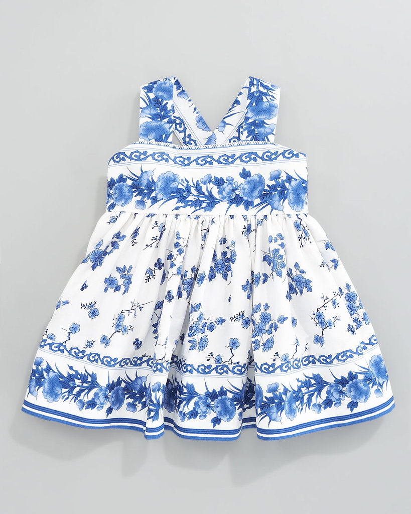 Keep her look classic in this breezy, porcelain-inspired blue-and-white sundress ($160).