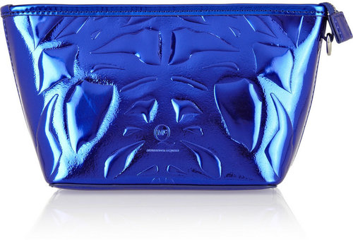 McQ Alexander McQueen Embossed metallic faux leather cosmetics case