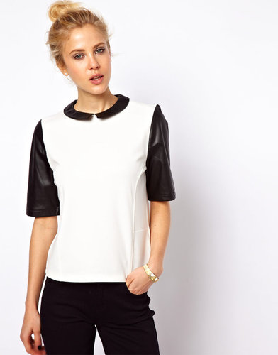 ASOS Top with PU Collar