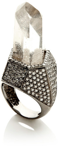 Kimberly McDonald Quartz Crystal & Pave Diamond Ring