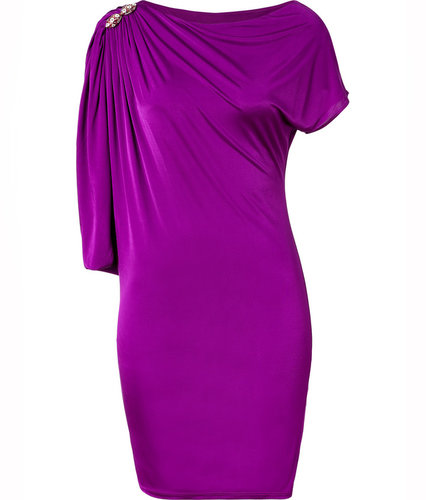 Roberto Cavalli Purple Draped Sleeve Dress with Brooch