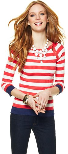 Ribbed Zip Detail Sweater