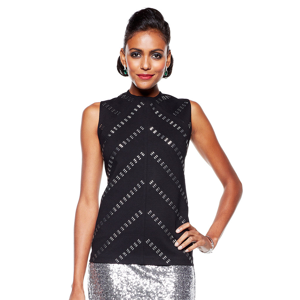 Timeless by Naeem Khan Sleeveless Ponte Studded Top Take a simple but glamorous departure from ordinary fashion with this dazzling evening separate that maintains a sleek shape thanks to perfectly placed seaming and darts, an invisible back zipper, and deeply cut sleeve holes, while a diagonal course of silver-tone studs enhances the flattering cut.