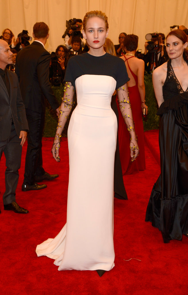 Leelee Sobieski's black-and-white Christian Dior gown at the Met Gala featured the coolest sheer floral-embellished sleeves.