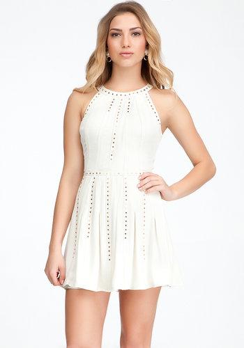 Silk & Leather Studded Dress