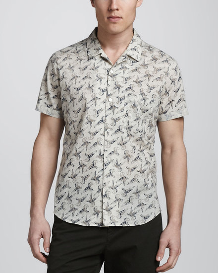 Theory Hummingbird-Print Short-Sleeve Shirt