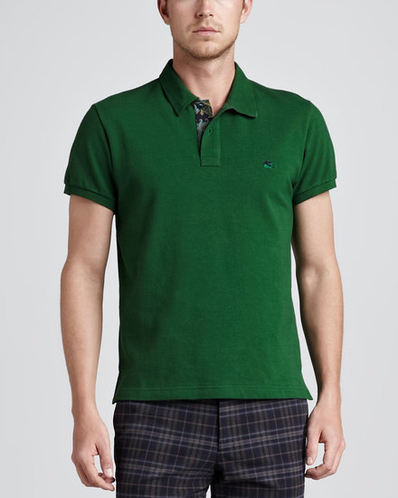 Etro Paisley-Facing Polo, Green