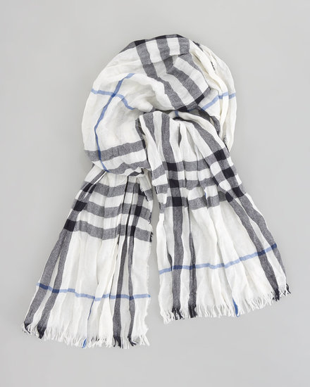 Burberry Crinkled Check Scarf, White