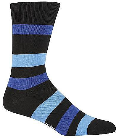Sock It To Me Men's Contrasting Black and Blue Striped Mid-Calf Socks Panty Hose