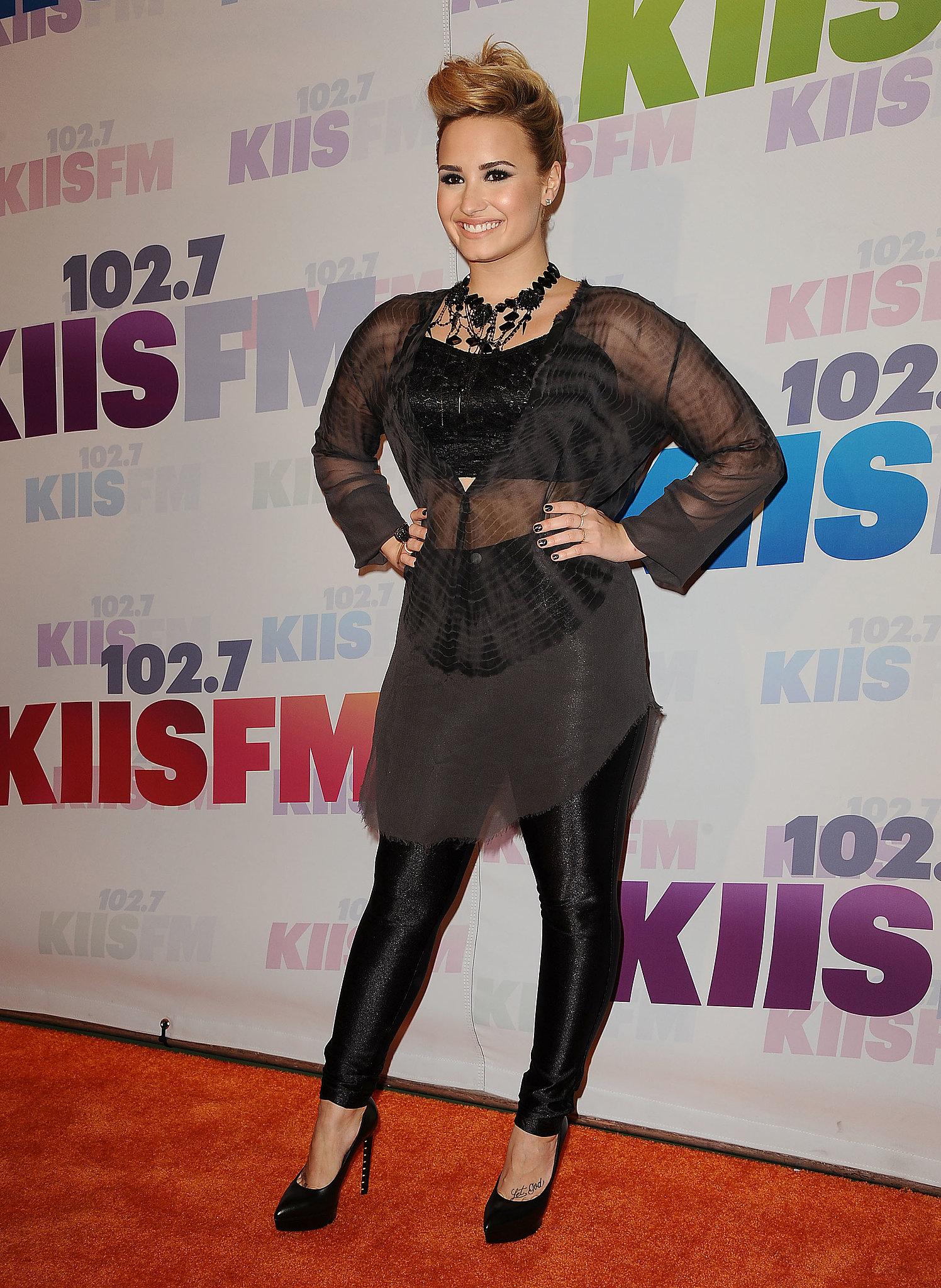 Demi Lovato wore a sheer top.