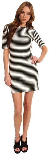 Tibi - Elsa Stripe Short Sleeve Dress (Charcoal/Ivory Multi) - Apparel
