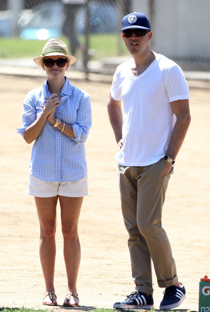 Reese Witherspoon and Jim Toth watched her son Deacon play soccer.