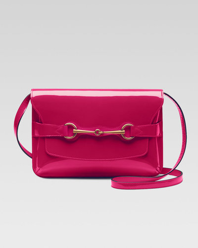 Gucci Bright Bit Patent Leather Shoulder Bag, Pink