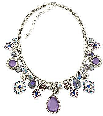 Purple Stone Charm Statement Necklace