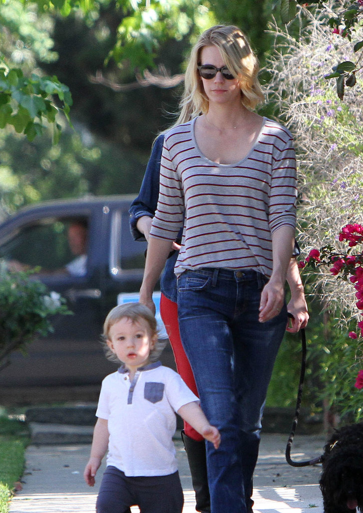 January Jones went for a casual LA walk with her son, Xander.