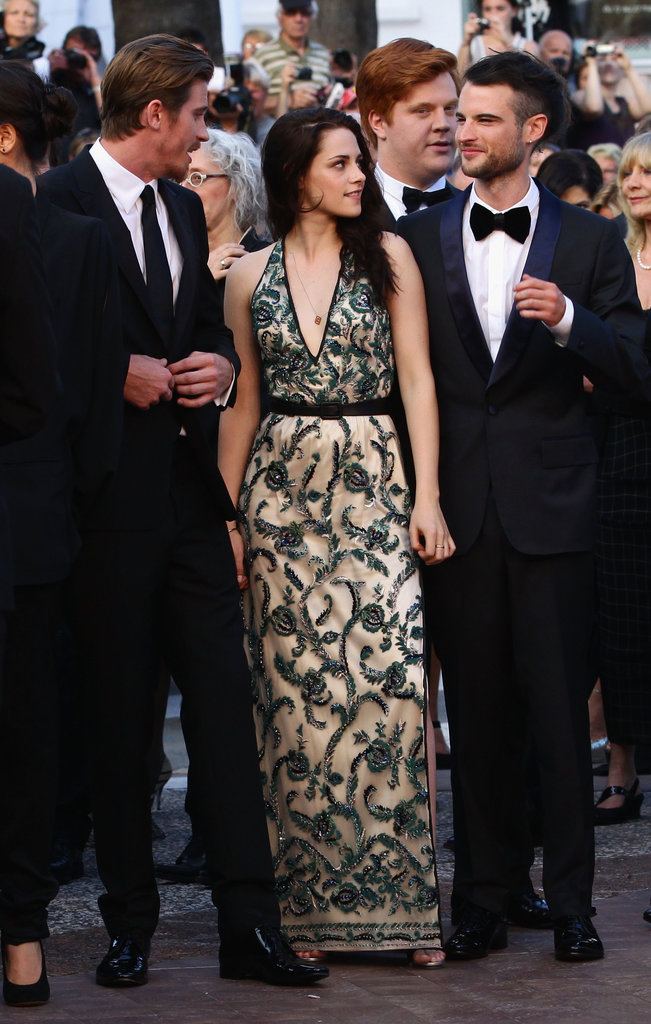 Kristen Stewart chatted with Garret Hedlund and Tom Sturridge at the On the Road premiere at the Cannes Film Festival in 2012.