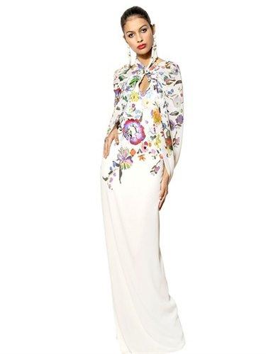 Silk Chiffon On Printed Cady Long Dress